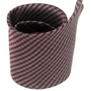 Van Heusen Red White Plaid Neck Tie 100% Silk
